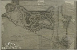 South Park, Preliminary plan for South Park.  F. L. Olmsted & Co., landscape architects, Brookline, Mass., April 27, 1892. Collection of the Buffalo History Museum, gift of the City of Buffalo