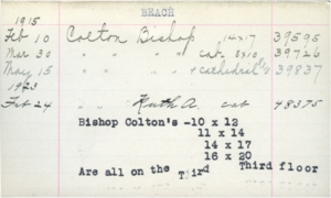 Figure 3: 39837 Bishop Colton Catalog Card