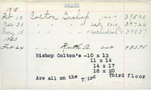 Figure 3: 39837 Bishop Colton Catalog Card
